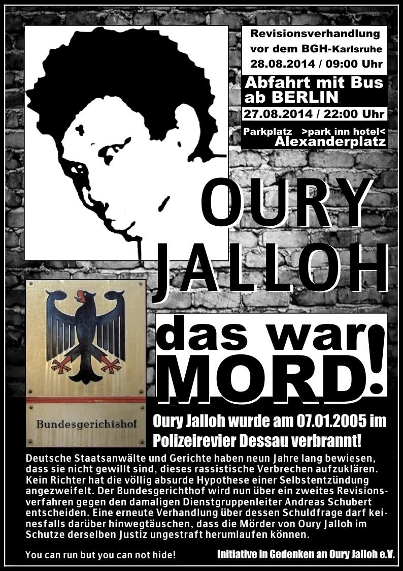 Revisionsverhandlung im Fall Oury Jalloh, am 28.8.14 9Uhr am Bundesgerichtshof Karlsruhe – Aufruf zur kritischen und solidarischen Prozessbegleitung